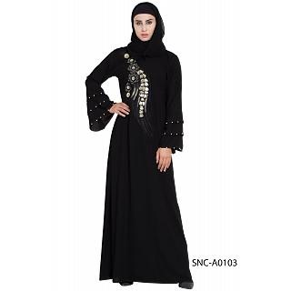 Bridal abaya with patchwork- Black