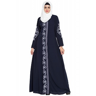 Embroidered front-open abaya- Navy Blue