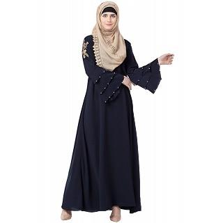 A-line embroidery abaya- Navy Blue