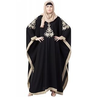 Kaftan abaya with Beige Embroidery work- Black