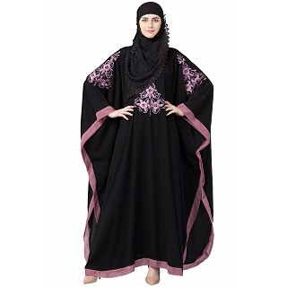 Kaftan Abaya with Purple embroidery work- Black