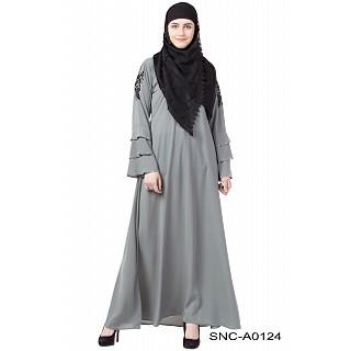A-line embroidery abaya- Grey