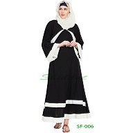 A-line casual abaya- Black with white stripe