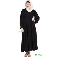 Full neck pleated abaya- Black