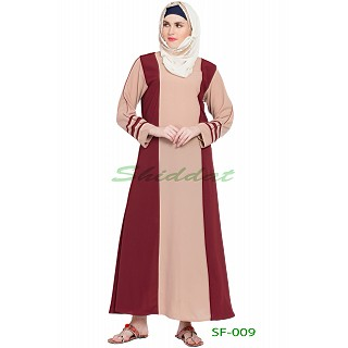 Dual color abaya- Beige with wine strip
