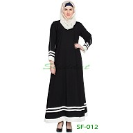 A-line casual abaya with White borders