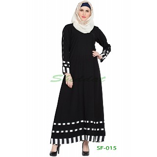 26425cf04b A-line casual abaya- Black with White strips