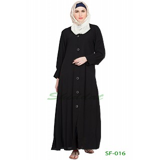 Black color Front open abaya with shirt collar