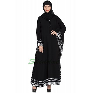 Arabian Kaftan- Black with checkered White stripes