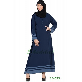 A-line casual abaya in Navy Blue