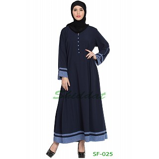A line casual abaya- Navy blue with small check prints