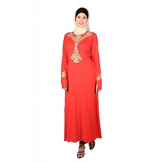 Elegant Gulshan Burqa-Red Pop-Out