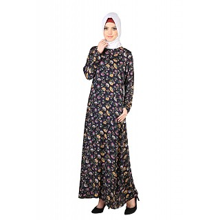 Floral Jamun Abaya in Purple and Yellow
