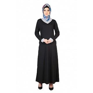 Simple Black Lace Abaya