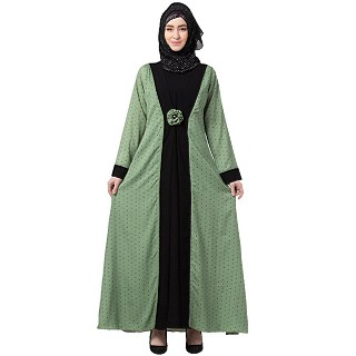 Polka dotted layered abaya- Green-Black