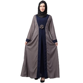 Polka dotted layered abaya- Grey-Navy Blue