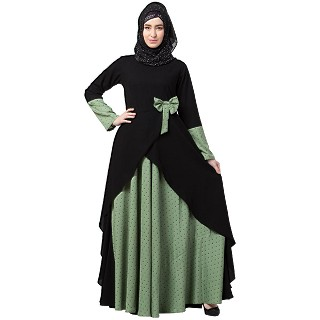 Polka dotted asymmetrical dress abaya- Green-Black