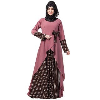 Polka dotted asymmetrical dress abaya- Puce Pink-Wine
