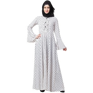 Polka dotted elegant dress abaya- White-Black