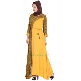 Printed long Dress in dual color- Green-Mustard