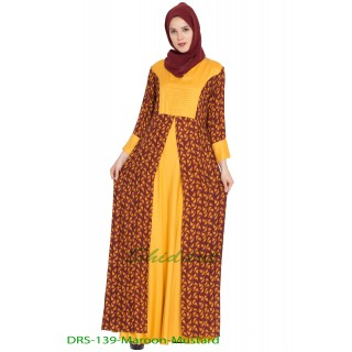 Printed long Dress in dual color- Maroon-Mustard