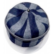 Afghani Round winter Topi- Blue Check