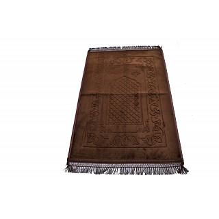 Imported premium Janamaz / prayer mat in Velvet- Chocolate Brown