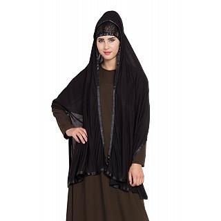 Premium Hijab with tape border- Black Color