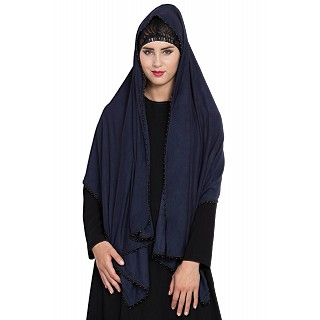 Classic hijab with black pearl lace border- Navy Blue color