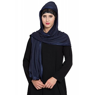 Premium Hijab with double tape border- Navy blue
