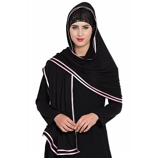 Premium Hijab with double tape pink border- Black