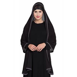 Premium Hijab with grey tape border- Black Color