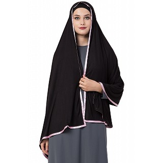 Premium Hijab with pink tape border- Black Color