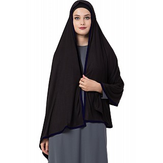 Premium Hijab with blue tape border- Black Color
