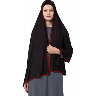 Premium Hijab with red tape border- Black Color