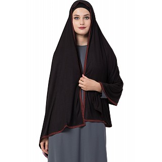 Premium Hijab with maroon tape border- Black Color