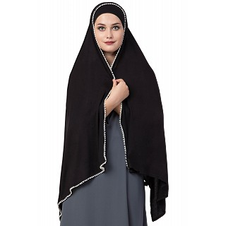 Classic hijab with white pearl lace border- Black color