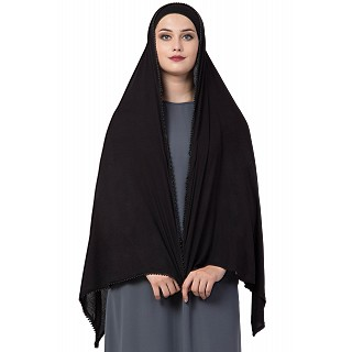 Classic hijab with black pearl lace border- Black color