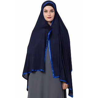 Premium Hijab with blue tape border- Navy blue color