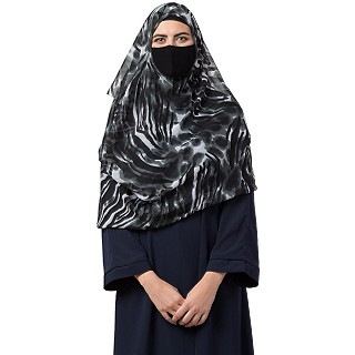 Two loop Instant Hijab with a free under Hijab cap- Dark Grey print
