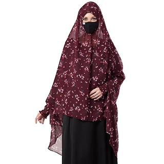 Instant Ready-to-wear Hijab - Maroon Print