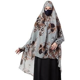 Instant Ready-to-wear Hijab - Grey Print