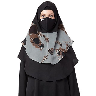 Instant Ready-to-wear Hijab - Black and Grey Print