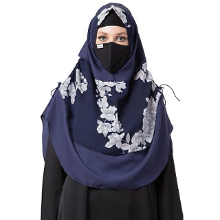 Instant Ready-to-wear Hijab - Navy Blue with White Print