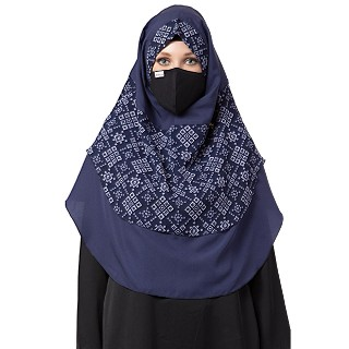 Instant Ready-to-wear Flower Printed Hijab - Blue