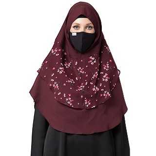 Instant Ready-to-wear Hijab - Maroon Print
