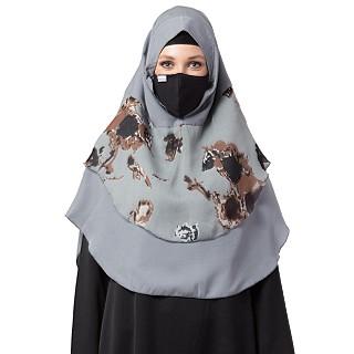 Instant Ready-to-wear Hijab Flower Printed - Grey