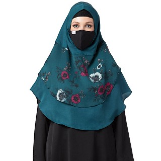 Instant Ready-to-wear Hijab Flower Printed - Teal Color
