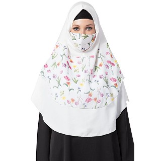 Instant Ready-to-wear Hijab Flower Printed - White Color