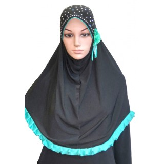 Makhna Hijab in Black & Sky Blue